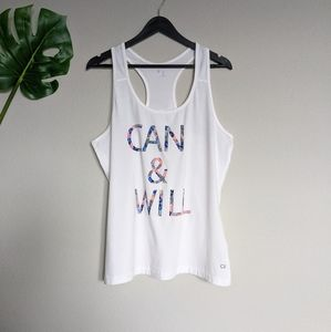GAP white & floral graphic racer back athletic top